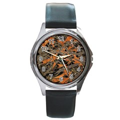 Intricate Abstract Print Round Leather Watch (silver Rim) by dflcprints