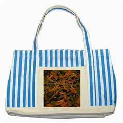 Intricate Abstract Print Blue Striped Tote Bag by dflcprints
