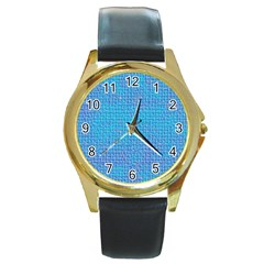 Textured Blue & Purple Abstract Round Leather Watch (gold Rim)  by StuffOrSomething
