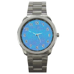 Textured Blue & Purple Abstract Sport Metal Watch by StuffOrSomething