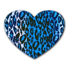 Florescent Blue Cheetah  Mouse Pad (Heart) by OCDesignss