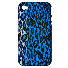 Florescent Blue Cheetah  Apple Iphone 4/4s Hardshell Case (pc+silicone) by OCDesignss
