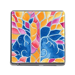 Yellow Blue Pink Abstract  Memory Card Reader With Storage (square) by OCDesignss