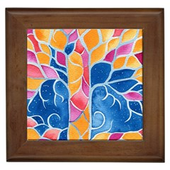 Yellow Blue Pink Abstract  Framed Ceramic Tile by OCDesignss