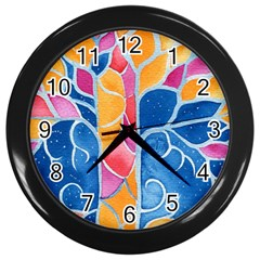 Yellow Blue Pink Abstract  Wall Clock (black) by OCDesignss