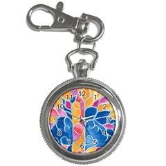 Yellow Blue Pink Abstract  Key Chain Watch by OCDesignss