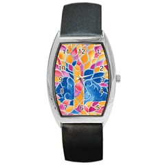 Yellow Blue Pink Abstract  Tonneau Leather Watch by OCDesignss