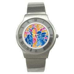 Yellow Blue Pink Abstract  Stainless Steel Watch (slim)