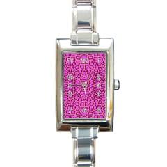 Florescent Pink Animal Print  Rectangular Italian Charm Watch