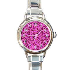 Florescent Pink Animal Print  Round Italian Charm Watch