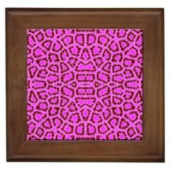 Florescent Pink Animal Print  Framed Ceramic Tile