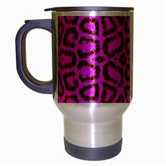 Florescent Pink Animal Print  Travel Mug (silver Gray)