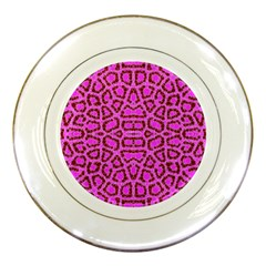 Florescent Pink Animal Print  Porcelain Display Plate by OCDesignss
