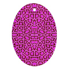Florescent Pink Animal Print  Oval Ornament (two Sides)