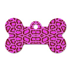 Florescent Pink Animal Print  Dog Tag Bone (two Sided)