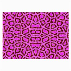 Florescent Pink Animal Print  Glasses Cloth (large, Two Sided)