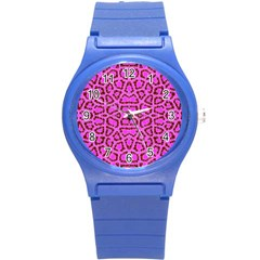 Florescent Pink Animal Print  Plastic Sport Watch (small)