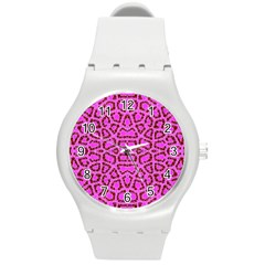 Florescent Pink Animal Print  Plastic Sport Watch (medium) by OCDesignss