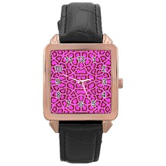 Florescent Pink Animal Print  Rose Gold Leather Watch  by OCDesignss