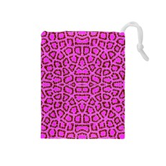 Florescent Pink Animal Print  Drawstring Pouch (medium) by OCDesignss