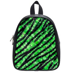 Florescent Green Tiger Bling Pattern  School Bag (small) by OCDesignss