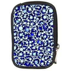 Bright Blue Cheetah Bling Abstract  Compact Camera Leather Case by OCDesignss