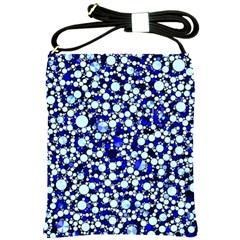 Bright Blue Cheetah Bling Abstract  Shoulder Sling Bag by OCDesignss