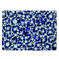 Bright Blue Cheetah Bling Abstract  Cosmetic Bag (xxl) by OCDesignss
