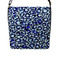 Bright Blue Cheetah Bling Abstract  Flap Closure Messenger Bag (l) by OCDesignss