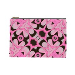 Powder Pink Black Abstract  Cosmetic Bag (large) by OCDesignss