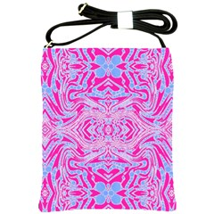 Trippy Florescent Pink Blue Abstract  Shoulder Sling Bag by OCDesignss