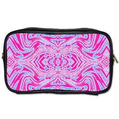 Trippy Florescent Pink Blue Abstract  Travel Toiletry Bag (two Sides) by OCDesignss