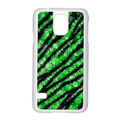 Florescent Green Tiger Bling Pattern  Samsung Galaxy S5 Case (white) by OCDesignss