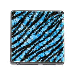 Bright Blue Tiger Bling Pattern  Memory Card Reader With Storage (square) by OCDesignss