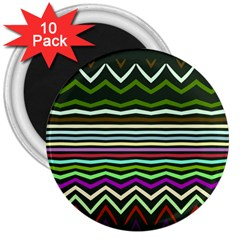 Chevrons And Distorted Stripes 3  Magnet (10 Pack) by LalyLauraFLM