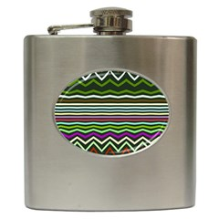 Chevrons And Distorted Stripes Hip Flask (6 Oz) by LalyLauraFLM
