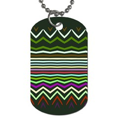 Chevrons And Distorted Stripes Dog Tag (two Sides) by LalyLauraFLM