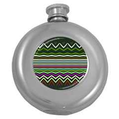 Chevrons And Distorted Stripes Hip Flask (5 Oz) by LalyLauraFLM