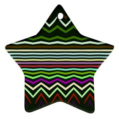 Chevrons And Distorted Stripes Star Ornament (two Sides) by LalyLauraFLM