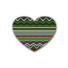 Chevrons And Distorted Stripes Rubber Coaster (heart) by LalyLauraFLM