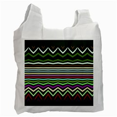 Chevrons And Distorted Stripes Recycle Bag (two Side) by LalyLauraFLM