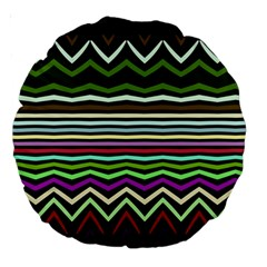 Chevrons And Distorted Stripes Large 18  Premium Round Cushion  by LalyLauraFLM