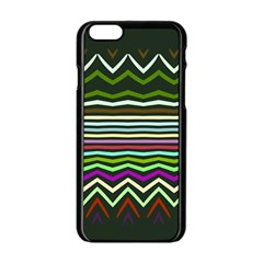Chevrons And Distorted Stripes Apple Iphone 6 Black Enamel Case by LalyLauraFLM