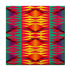 Colorful Tribal Texture Tile Coaster by LalyLauraFLM