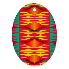 Colorful Tribal Texture Oval Ornament (two Sides) by LalyLauraFLM