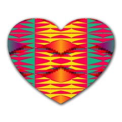 Colorful Tribal Texture Heart Mousepad by LalyLauraFLM