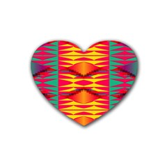 Colorful Tribal Texture Rubber Coaster (heart) by LalyLauraFLM