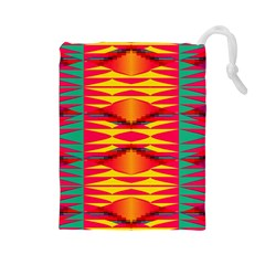 Colorful Tribal Texture Drawstring Pouch by LalyLauraFLM