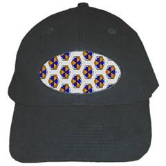 Orange Blue Honeycomb Pattern Black Cap by LalyLauraFLM