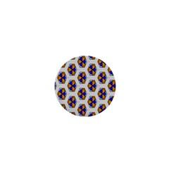 Orange Blue Honeycomb Pattern 1  Mini Magnet by LalyLauraFLM